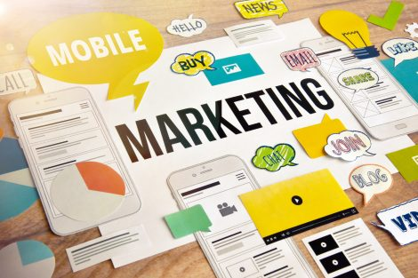 Mobile marketing concept design. Concept for website and mobile banner, social media marketing, internet advertising, networking, m-commerce, presentation template, marketing material, mobile services